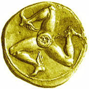 The Trinacria on a Greek coin.